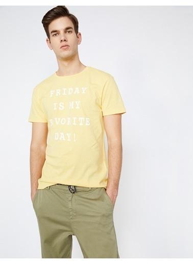 Koton Yazılı Baskılı T-Shirt Sarı